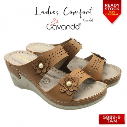 Cavando Ladies Comfort Sandals 5889-9 (Pink , Blue , Tan)