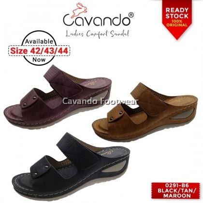 Cavando Ladies Comfort Sandals EXTRA LARGE SIZE - 0291-B6 (Black , Tan , Maroon)